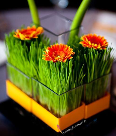 تزیین سبزه عید 97 با گل های طبیعی - مدل شماره 11