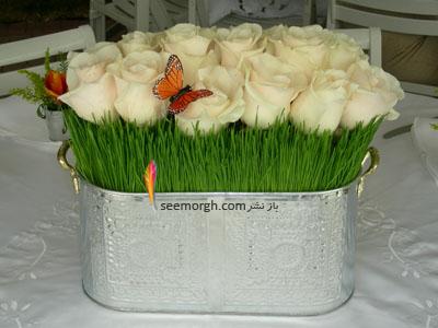 تزیین سبزه عید 97 با گل های طبیعی - مدل شماره 9