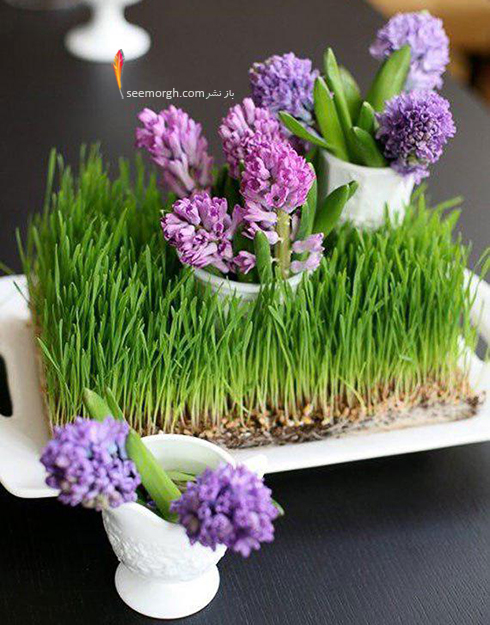 تزیین سبزه عید 97 با گل های طبیعی - مدل شماره 8