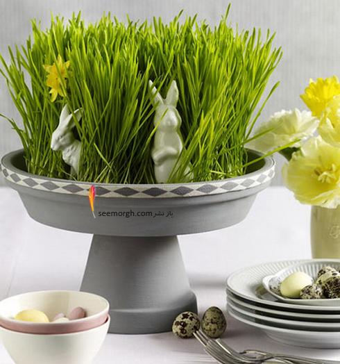 تزیین سبزه عید 97 با گل های طبیعی - مدل شماره 7