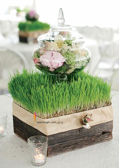 تزیین سبزه عید 97 با گل های طبیعی - مدل شماره 6