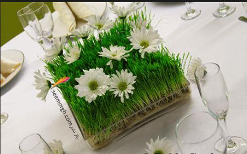 تزیین سبزه عید 97 با گل های طبیعی - مدل شماره 4