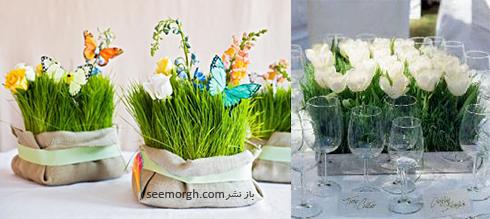 تزیین سبزه عید 97 با گل های طبیعی - مدل شماره 3