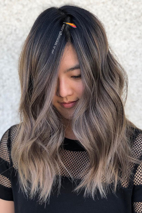 رنگ مو آمبره خاکستری قهوه ای