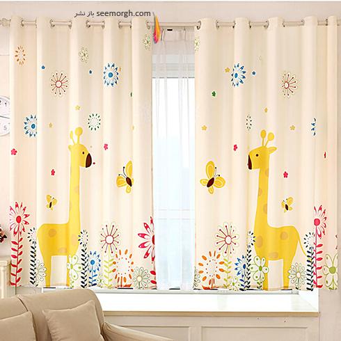 تزیین اتاق کودک با پرده های رنگی و فانتزی - مدل شماره 3
