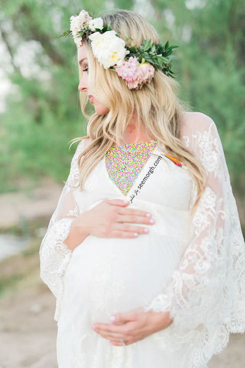 لباس بارداري يقه هفت حرير با آستين هاي توري