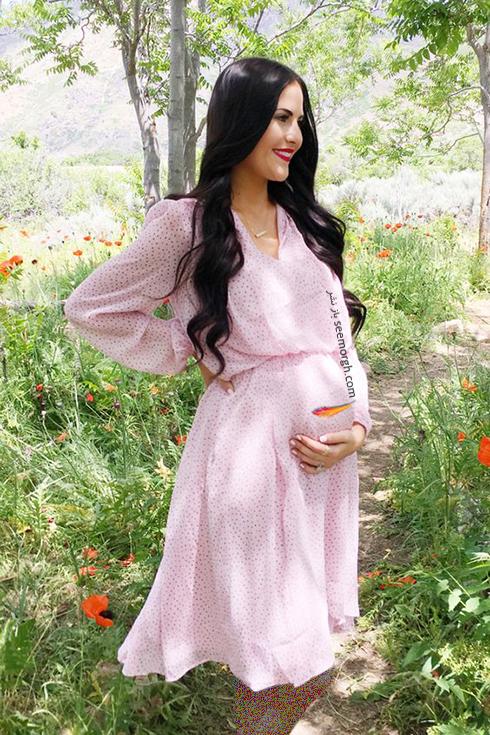 لباس بارداري با يقه هفتي ( يقه چپ و راستي ) بزرگ