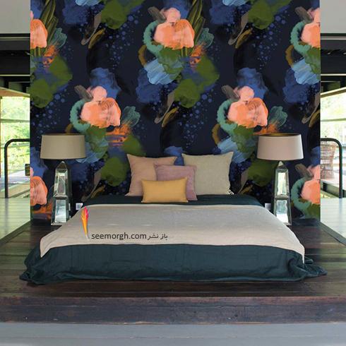 کاغذ دیواری اتاق خواب با طرح گل های آبرنگی
