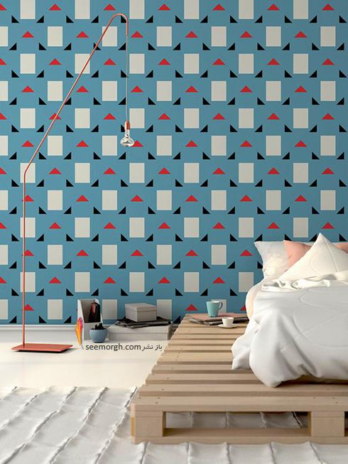 کاغذ دیواری اتاق خواب با طرح های مثلث و مستطیل