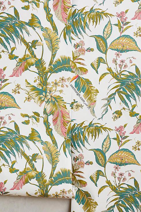 کاغذ دیواری اتاق خواب با طرح برگ های بهاری و رنگی