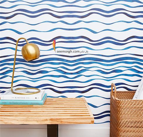 کاغذ دیواری اتاق خواب با طرح خط های منحنی