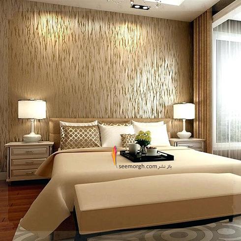 کاغذ دیواری اتاق خواب با طرح طلایی براق