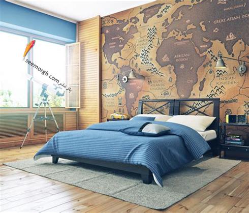 کاغذ دیواری اتاق خواب با طرح نقشه جغرافیا