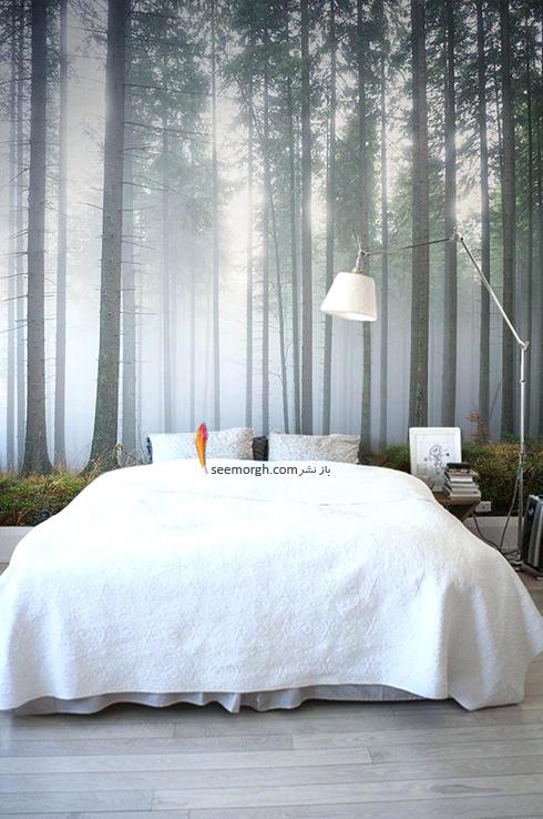 کاغذ دیواری اتاق خواب با طرح درخت و جنگل