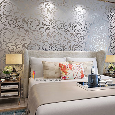 کاغذ دیواری اتاق خواب با طرح نقره ای براق
