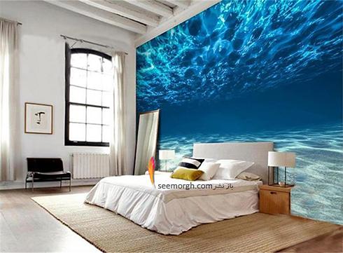 کاغذ دیواری اتاق خواب با طرح اقیانوس