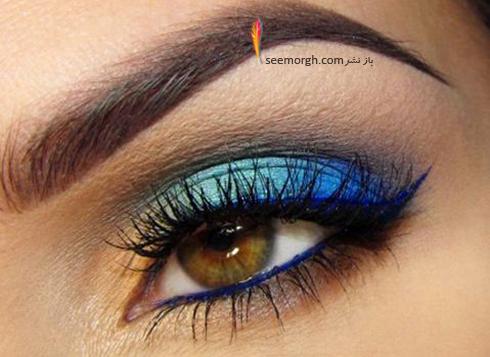 آرایش چشم قهوه ای با سایه آبی