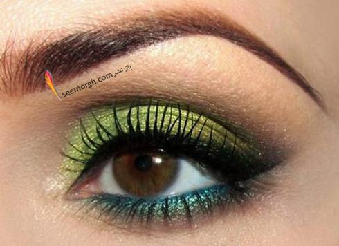 آرایش چشم قهوه ای با سایه سبز