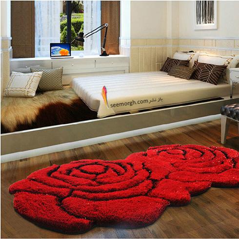 فرش فانتزی اتاق خواب با طرح گل رز
