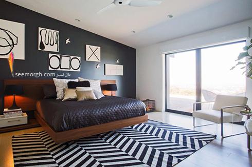 فرش فانتزی راه راه برای اتاق خواب - مدل شماره 1