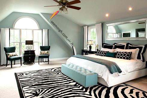 فرش فانتزی راه راه برای اتاق خواب - مدل شماره 2