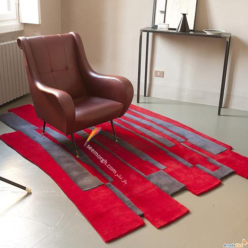 فرش فانتزی دو رنگ برای اتاق خواب - مدل شماره 2