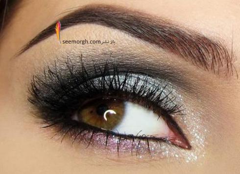 آرایش چشم قهوه ای با سایه نقره ای