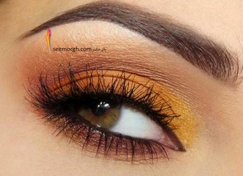آرایش چشم قهوه ای با سایه بژ، نارنجی