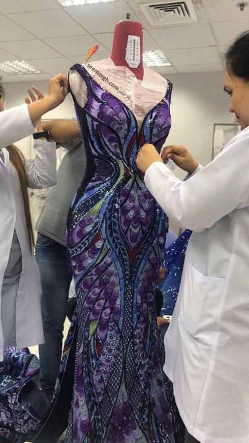 مراحل آماده کردن لباس آیشواریا رای Aishwaria Ray برای جشنواره کن 2018 Cannes - عکس شماره 4