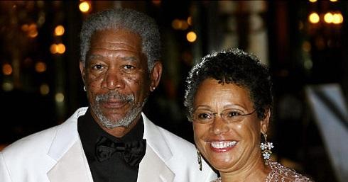 مورگان فریمن در کنار همسرش