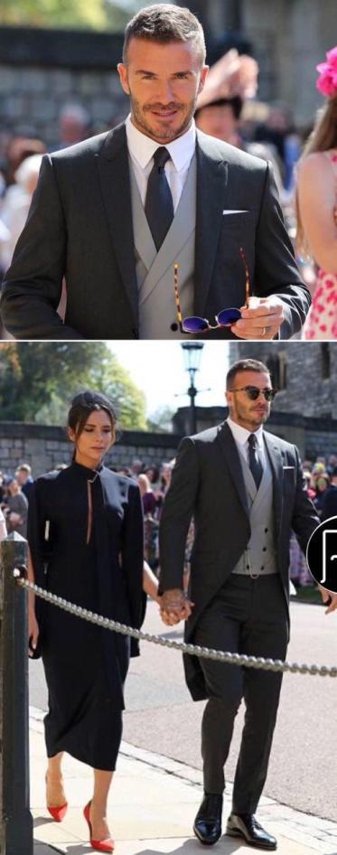 دیوید یکهام و همسرش در مراسم ازدواج پرنس هری
