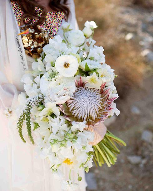 دسته گل عروس 2018 با گل های سفید - مدل شماره 12