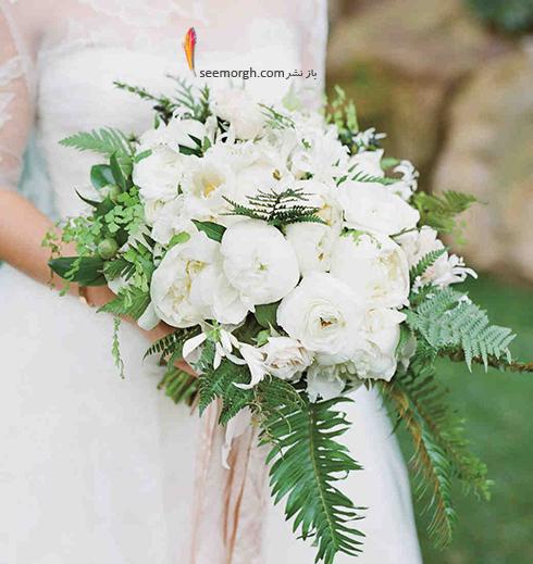 دسته گل عروس 2018 با گل های سفید - مدل شماره 11