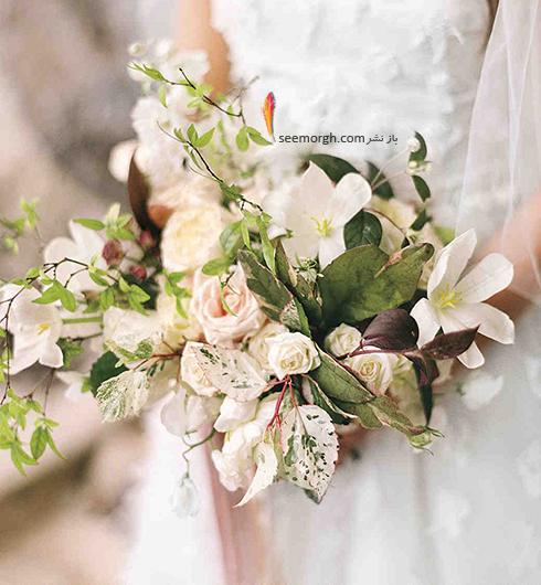 دسته گل عروس 2018 با گل های سفید - مدل شماره 9