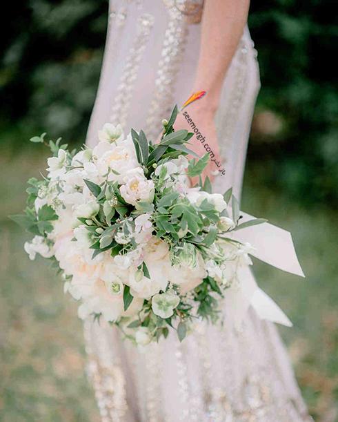 دسته گل عروس 2018 با گل های سفید - مدل شماره 10