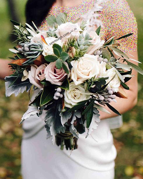 دسته گل عروس 2018 با گل های سفید - مدل شماره 8