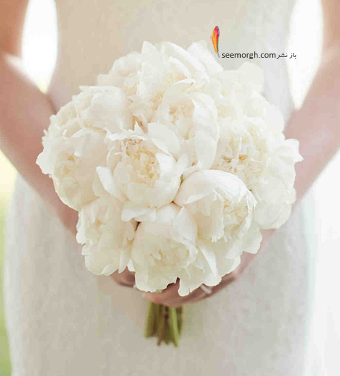 دسته گل عروس 2018 با گل های سفید - مدل شماره 7