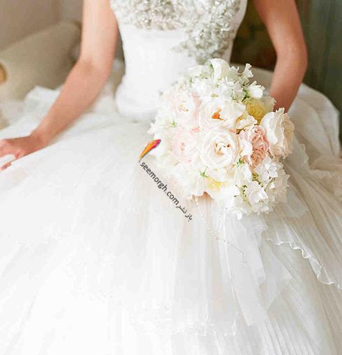 دسته گل عروس 2018 با گل های سفید - مدل شماره 1