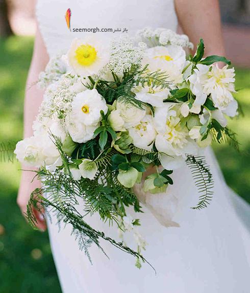 دسته گل عروس 2018 با گل های سفید - مدل شماره 5