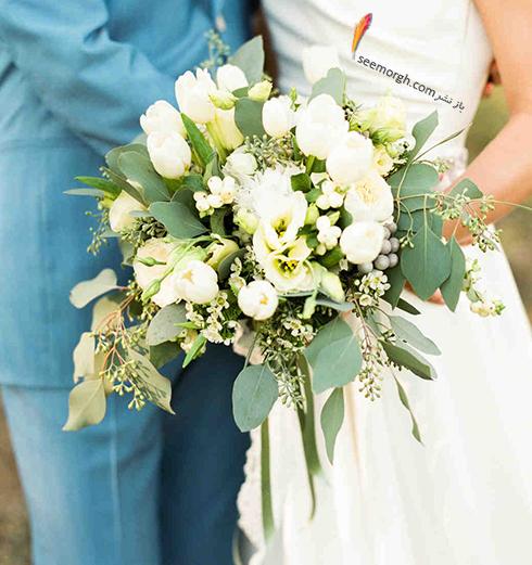 دسته گل عروس 2018 با گل های سفید - مدل شماره 4