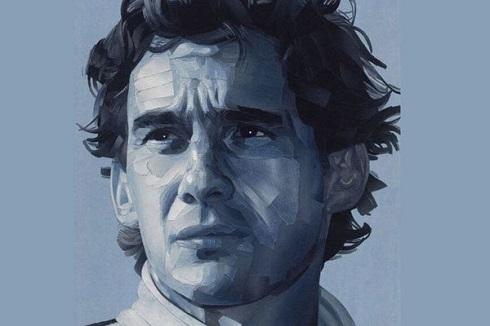 پرتره آیرتون سنا قهرمان درگذشته مسابقات فرمول یک؛ ساخته شده با پارچههای جین