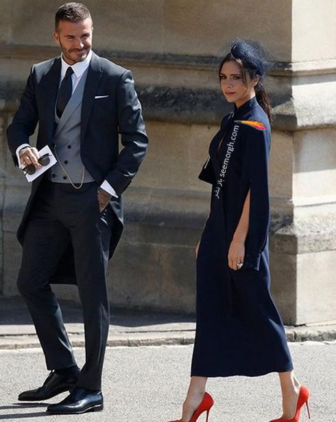 ویکتوریا و دیوید بکهام در مراسم مگان مارکل Meghan Markle و پرنس هری Prince Harry