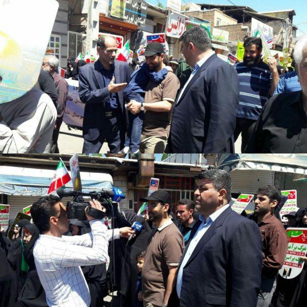 تیپ متفاوت وزیر ارتباطات در راهپیمایی قدس