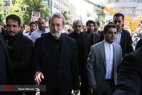 شرکت علی لاریجانی رئیس مجلس در راهپیمایی روز قدس