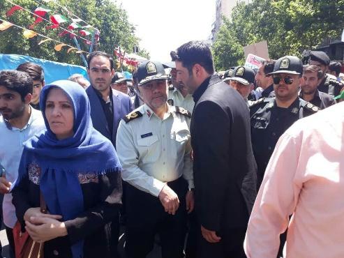 سردار حسین رحیمی رئیس پلیس پایتخت در راهپیمایی روز قدس در تهران