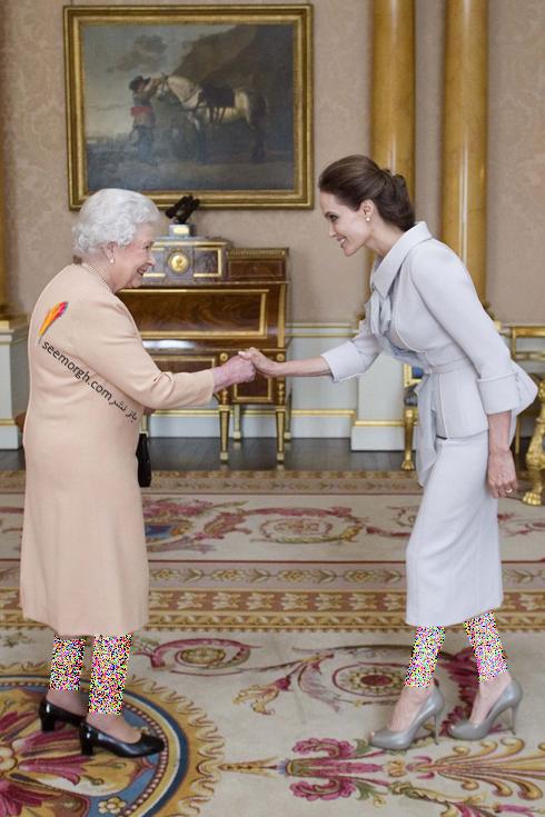 مدل لباس آنجلینا جولی Anjelina Jolie در دیدار با ملکه انگلیس از برند رالف اند روسو Ralph&Russo