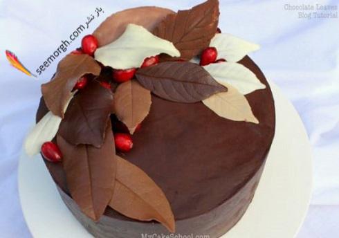 تزئین کیک با شکلات برگی شکل خانگی