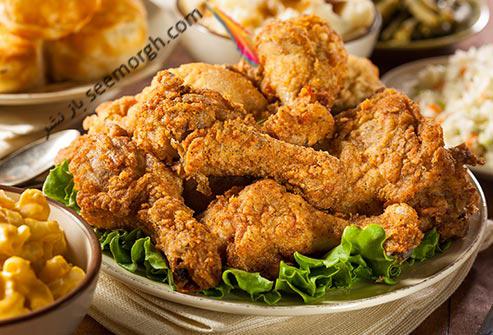 مرغ سرخ شده,غذای سرخ شده