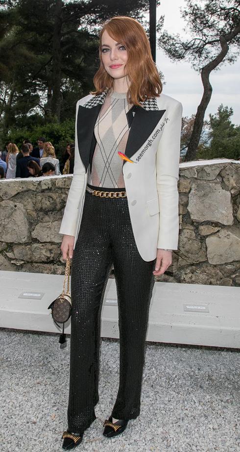 مدل لباس اما استون Emma Stone در هفته مد از برند لویی ویتون Louis Vuitton