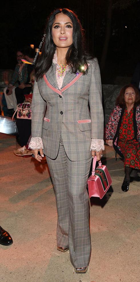مدل لباس سلما هایک Salma Hayek در هفته مد از برند گوچی Gucci